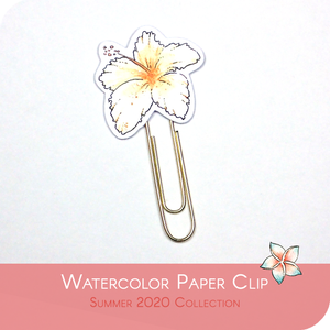 Summer 2020 Collection - White Hawaian Flower Paper Clip