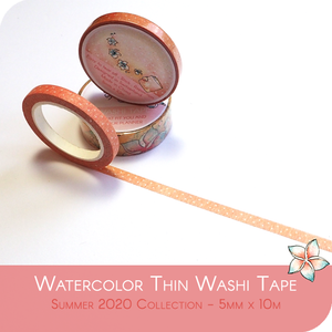 Thin Washi Tape for Late Summer - Coral and light pink