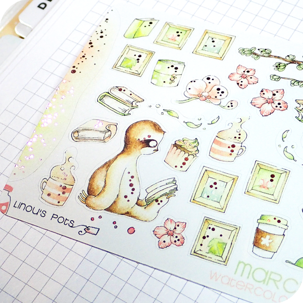 March 2021 Collection MINI SHEET - Sloth Reading FOILED (Pink)