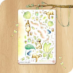 March 2021 Collection - Decorative Illustrations - Sleeping Sloths & Frogs