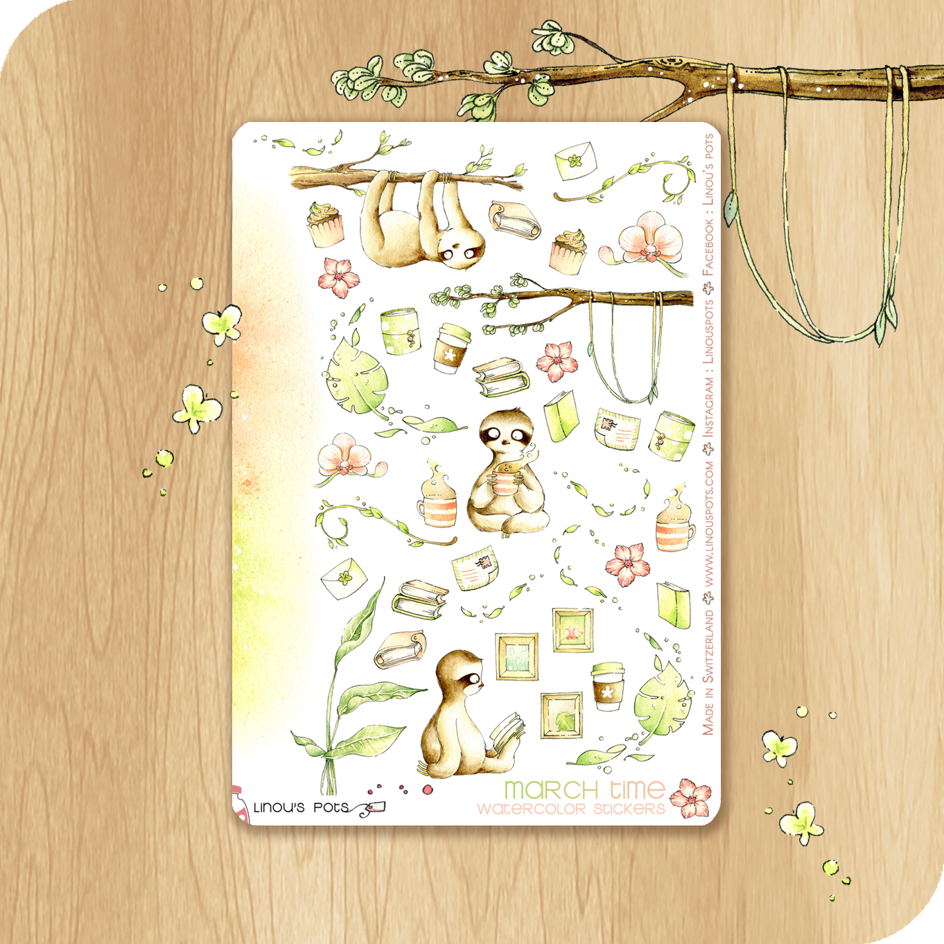 March 2021 Collection - Decorative Illustrations - Sloths Reading & Hanging