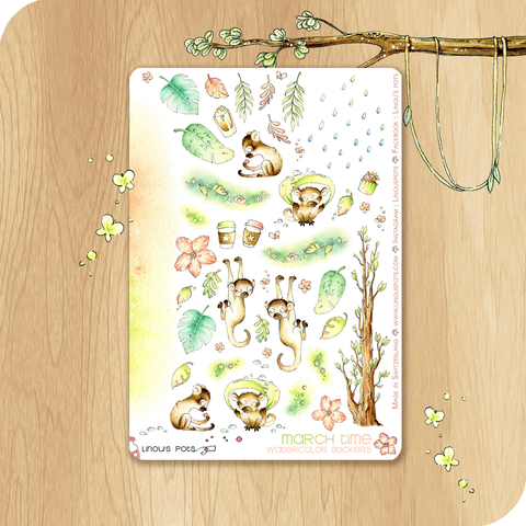 March 2021 Collection - Decorative Illustrations - Monkeys Under The Rain