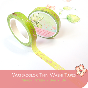 March 2021 Collection Foiled 8mm Washi Tape - Green with Rose Gold Spots