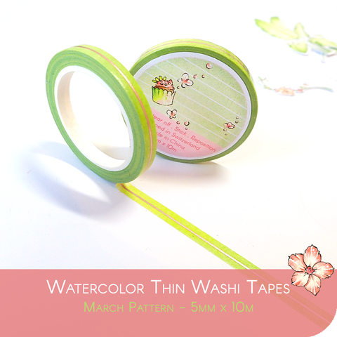 March 2021 Collection Foiled Thin Washi Tape - Green and Rose Gold Line