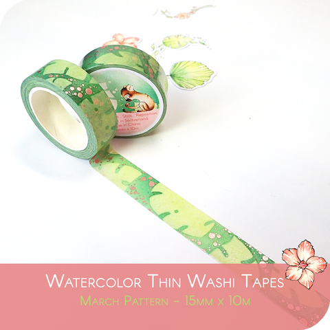 March 2021 Collection Foiled Washi Tape - Tropical Leaves with Rose Gold Foil