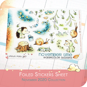 November 2020 Collection MINI SHEET - Hedgehogs With Lightening Bugs FOILED