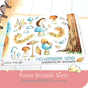 November 2020 Collection MINI SHEET - Hedgehogs On Mushrooms FOILED Blue