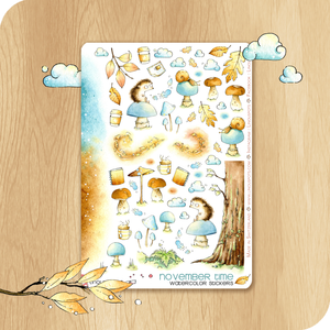 November 2020 Collection - Decorative Illustrations - Hedgehogs On Mushrooms