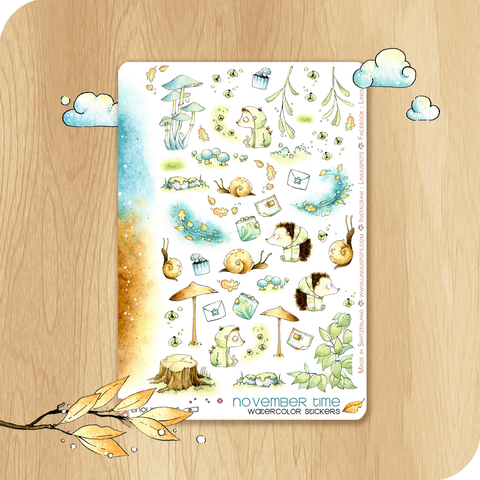 November 2020 Collection - Decorative Illustrations - Hedgehogs With Lightening Bugs
