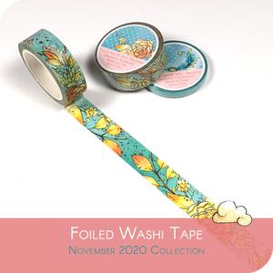 November 2020 Foiled Washi Tape - Fall Flowers with blue silber details