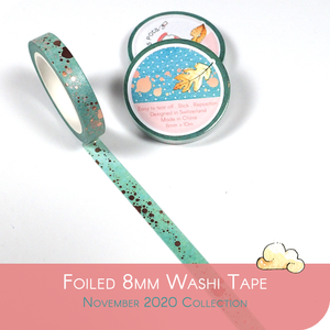 November 2020 8mm Washi Tape - Blue with Copper Foiled Spots