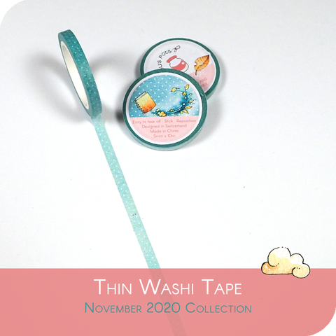 November 2020 thin Washi Tape - Light Blue