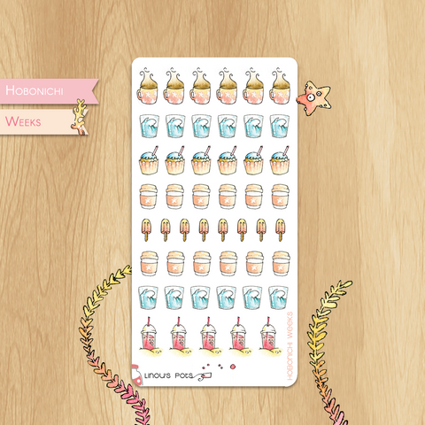 August 2019 Collection for HOBONICHI WEEKS - Drinks, Cupcakes and Ice Creams