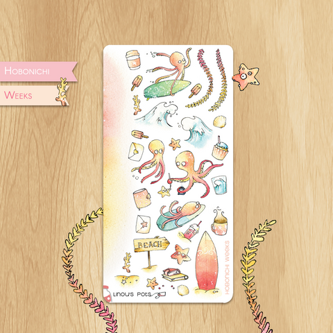 August 2019 Collection for HOBONICHI WEEKS - Decorative Illustrations for the Beach, Including Octopuses and Sea Stars