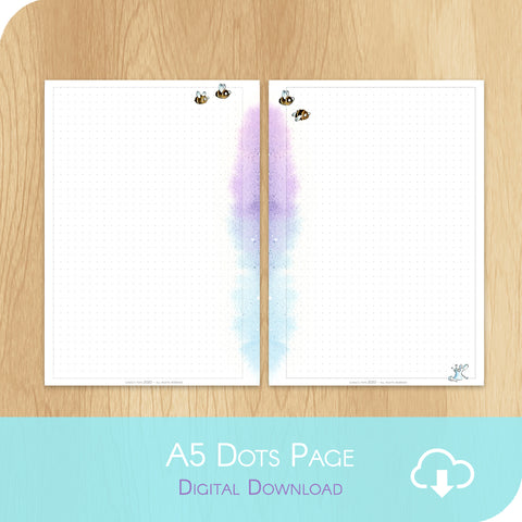 April 2020 Collection - Printable A5 Dots Notes Page - White version