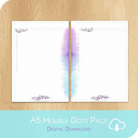 April 2020 Collection - Printable A5 Dots Hourly Page White Version
