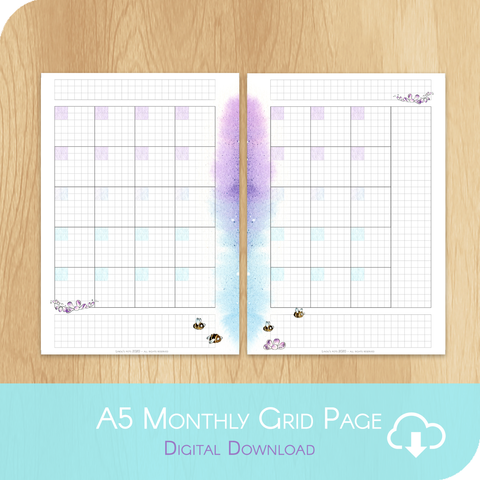 April 2020 Collection - Printable A5 Grid Undated Monthly - 1 Month on 2 Pages