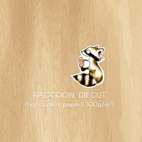 Raccoon Diecut With Ice Cream