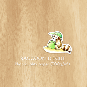 Diecut Raccoon Playing in the Sand, Perfect for Crafting and Planner Decoration in Summer
