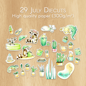 July 2019 Collection - 29 Watercolor Diecuts Including 3 Raccoons, Cactus and Succulents