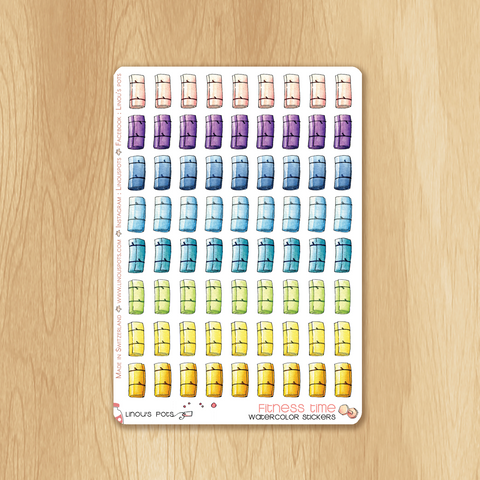 Rainbow Fitness Collection : 72 Exercise Mat Stickers