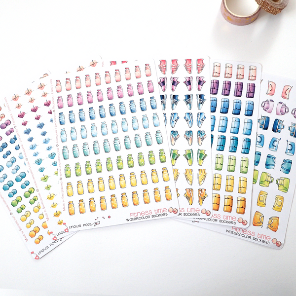 Rainbow Fitness Collection : 80 Water Bottle Stickers