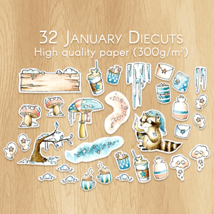 January 2019 collection - 32 Watercolor Diecuts for Srapbooking, Memory Planning and Planner Customisation