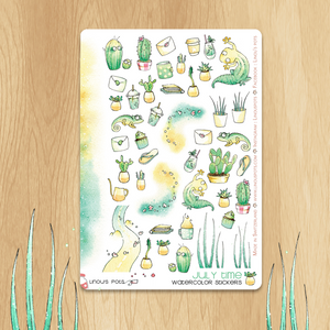 July 2019 Collection - Decorative Illustrations with Cactus, Succulents and Geckos
