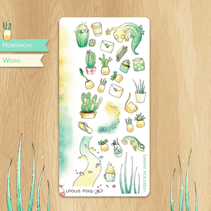 July 2019 Collection for HOBONICHI WEEKS - Decorative Illustrations of Cactus, Succulents, Geckos and Chameleons