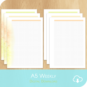 March 2021 Collection - Printable A5 - 3x 2 Grid Notes Pages