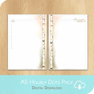February 2020 Collection - Printable A5 Dots Hourly Page - White Version