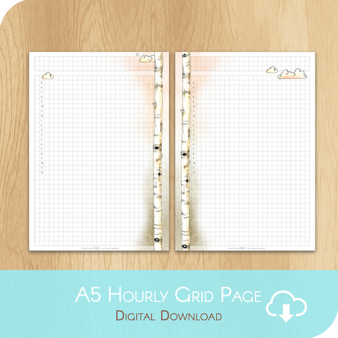 February 2020 Collection - Printable A5 Grid Hourly Page - White Version