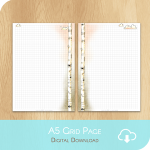 February 2020 Collection - Printable A5 Grid Notes Page - White Version