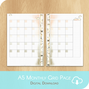February 2020 Collection - Printable A5 Grid Undated Monthly - 1 Month on 2 Pages