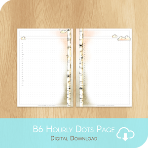 February 2020 Collection - Printable B6 Dots Hourly Page - White Version