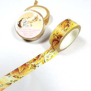 Foiled Washi Tape for Fall - Orange version with Brown Reddish Foil