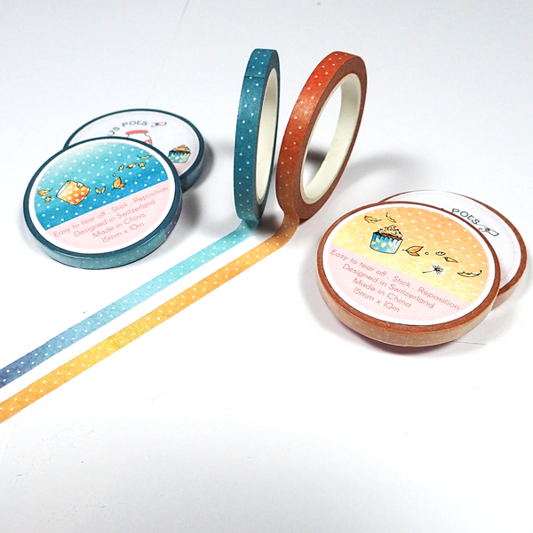 Thin Washi Tapes for Fall - Blue and Orange Versions