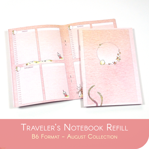 Undated Traveler's Notebook Insert - August Collection for B6 sized