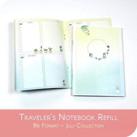 Undated Traveler's Notebook Insert - July Collection for B6 sized