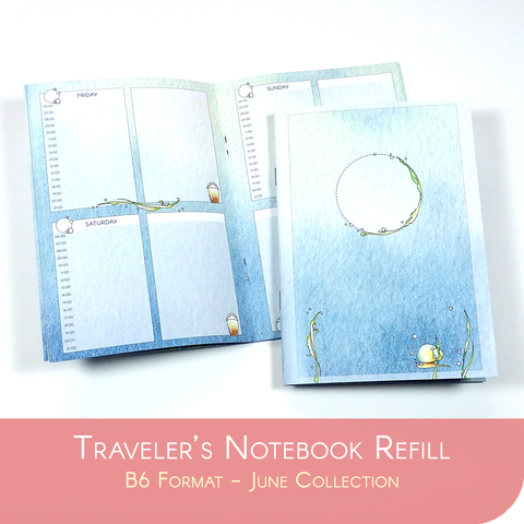 Undated Traveler's Notebook Insert - June Collection for B6 sized