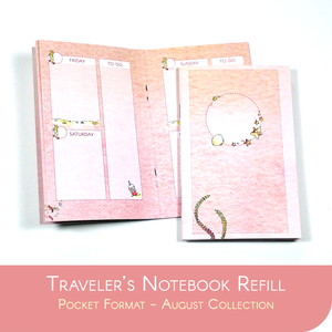 Undated Traveler's Notebook Insert - August Collection for POCKET sized