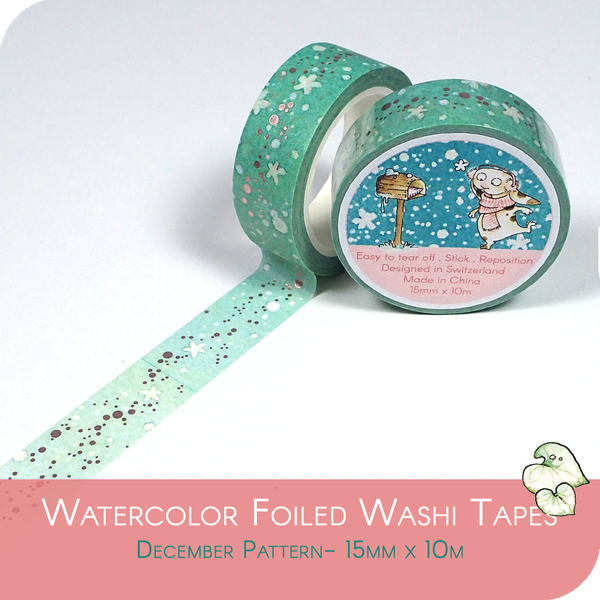 Foiled Washi Tape for Winter - Blue Snow