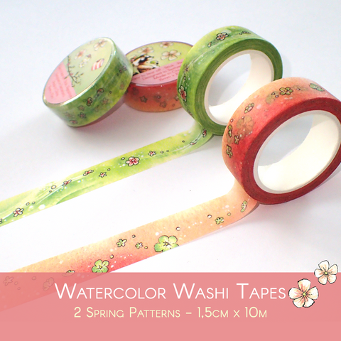 Flowered Washi Tapes in Spring Tones
