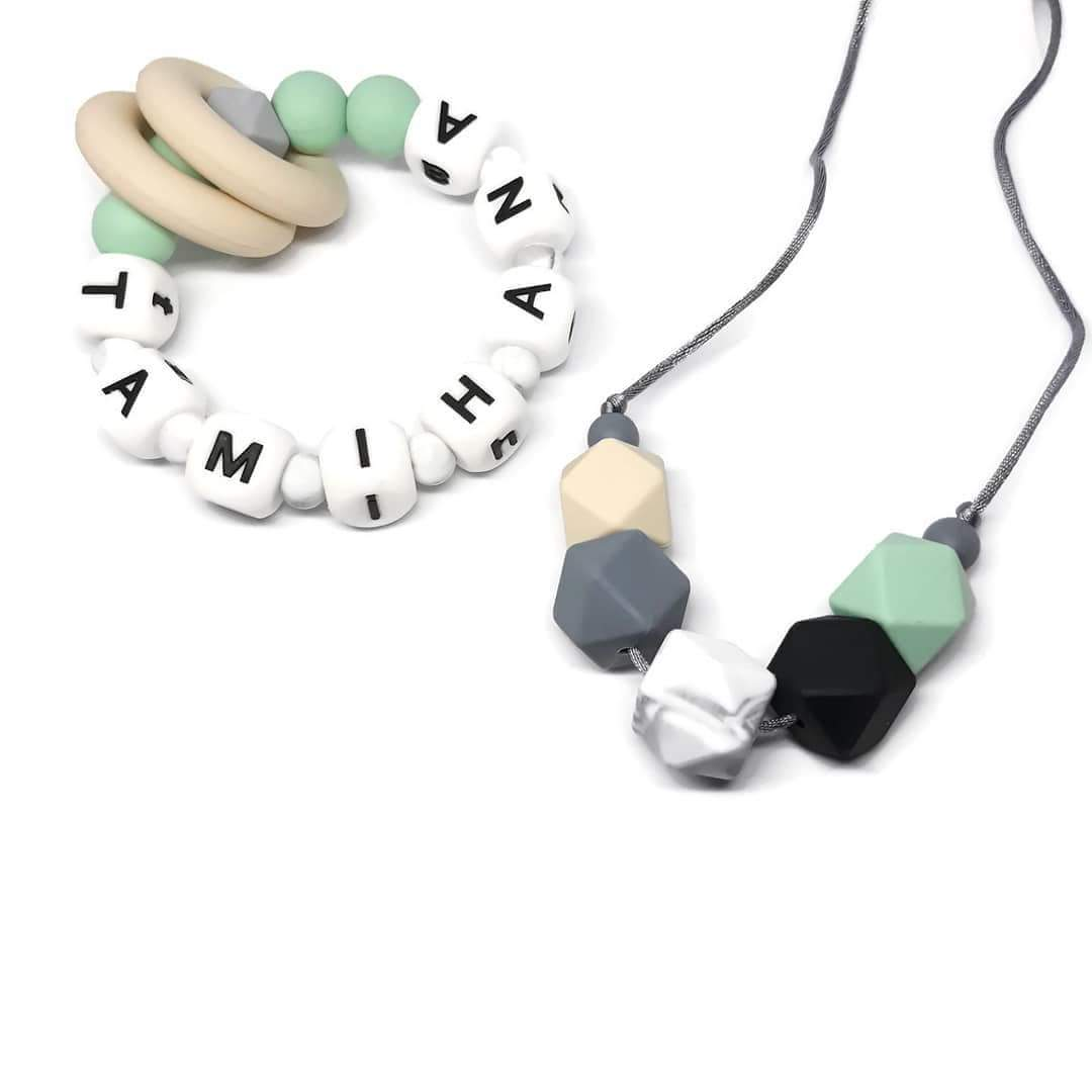 Personalised teething ring and matching necklace