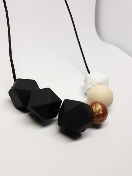 black and copper silicone teething necklace baby shower