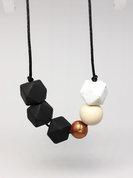 black and copper silicone teething necklace for mother
