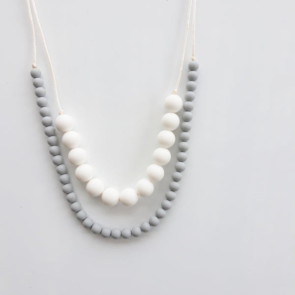 White and gray silicone necklace