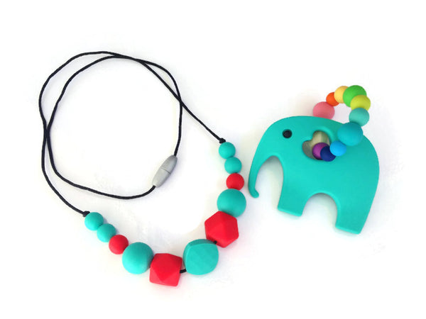 silicone necklace and toy teething gift set