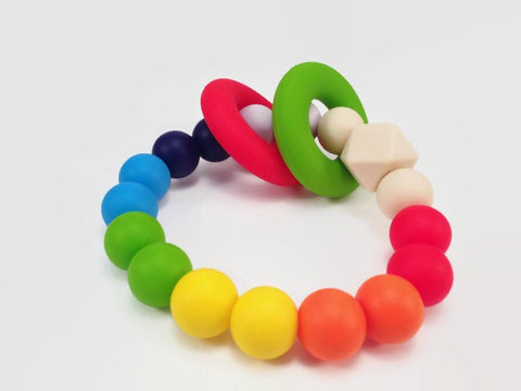 Rainbow splash teething bracelet