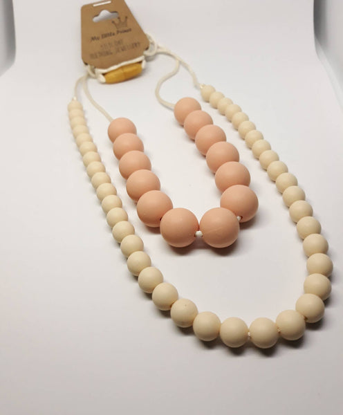 cream and peachy silicone necklace